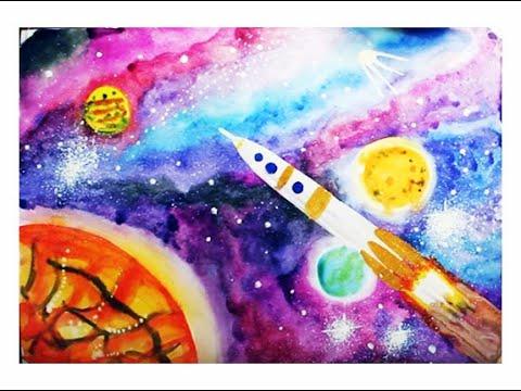 Как нарисовать космос акварелью поэтапно. Как ребенку нарисовать космос