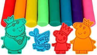 Peppa Pig Royal Family Play Doh Molds Learn Colors with Princess Peppa Daddy King Sir George Mummy