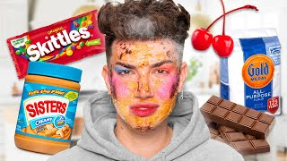 Doing My Makeup With FOOD 🤮