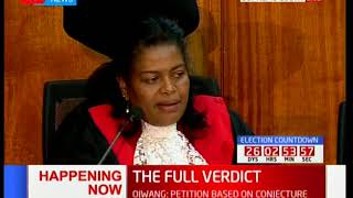 Justice Njoki Ndung'u's final verdict on the Supreme Court petition