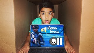 MAILING MY 5 YEAR OLD LITTLE BROTHER IN A CARDBOARD BOX WHILE PLAYING FORTNITE! | MAILING CHALLENGE