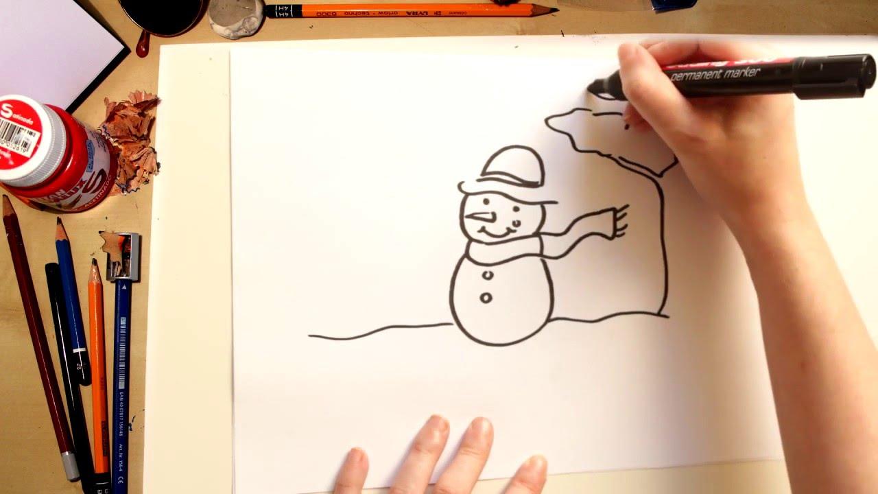 Cómo dibujar un muñeco de nieve - dibujos de Navidad para niños