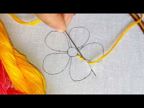 Hand Embroidery - Fantasy Flower Stitch | Whipped spiderweb Stitch | back Stitch.