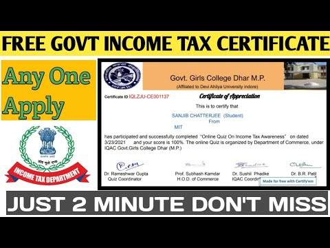 Free Income tax Certificate Online   Income Certificate   Free Online ...