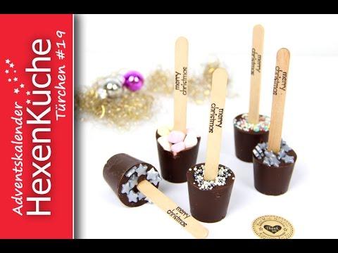 Trinkschokolade am Stiel selber machen und verpacken Thermomix DIY Adventskalender Türchen Nr.19