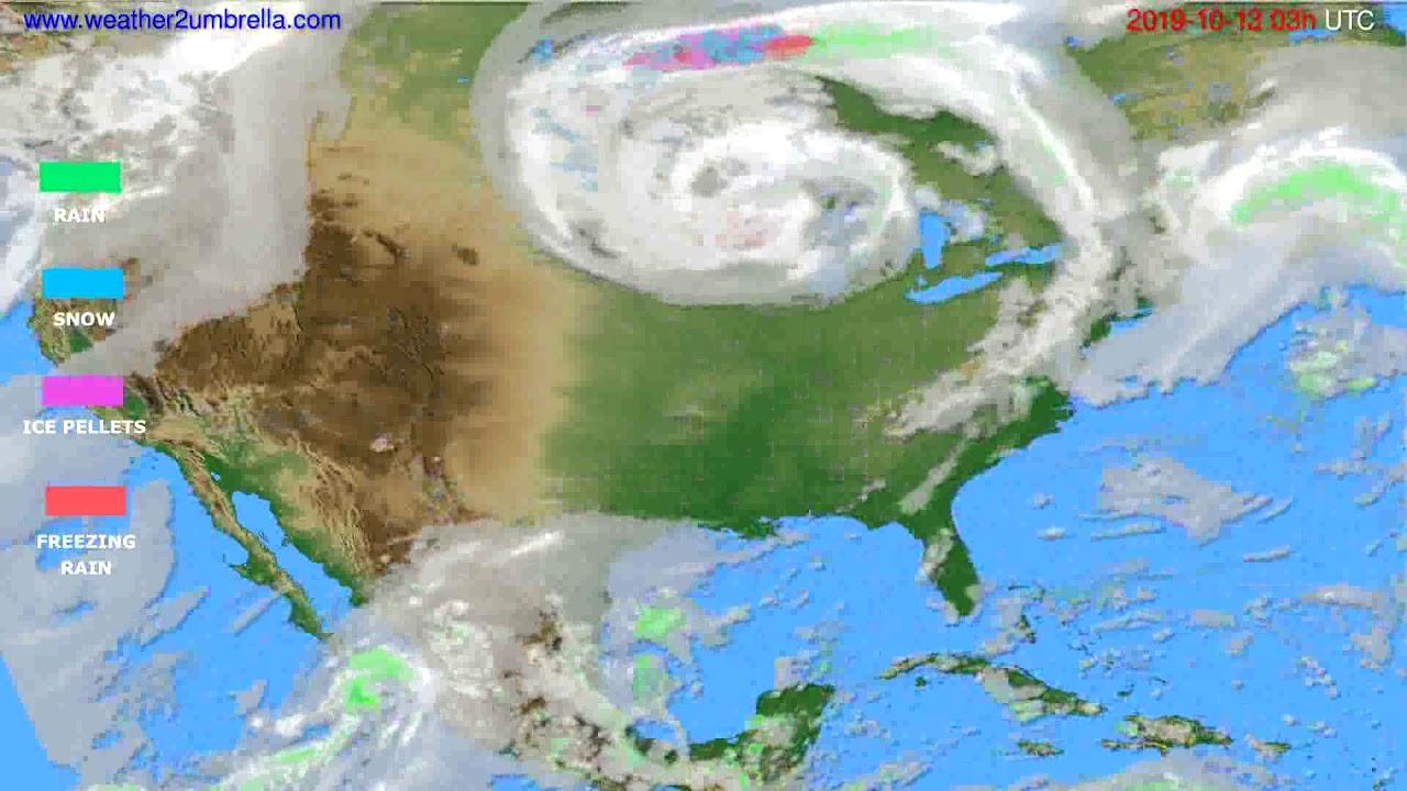 Precipitation forecast USA & Canada // modelrun: 00h UTC 2019-10-10