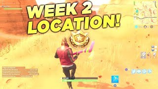"""Fortnite """"Search between an Oasis, Rock Archway and Dinosaurs"""" Location Week 2 Battle Star Challenge"""