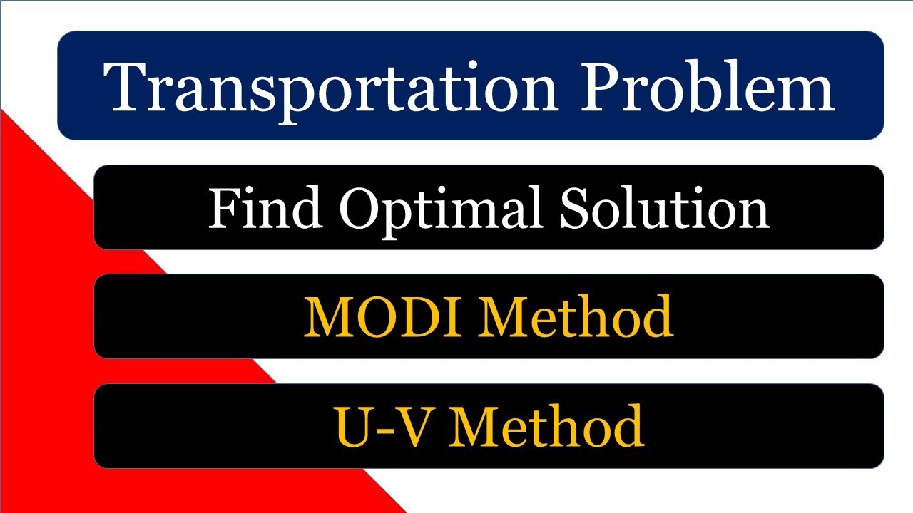 [Hindi] Transportation Problem MODI Method
