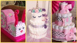 Unique DiY Diaper Cake Ideas For Baby Girl,Diaper Cake,Baby Shower Ideas