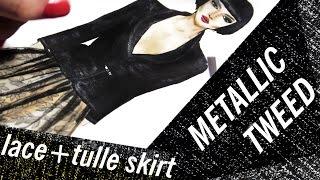 TWEED JACKET & LACE+SATIN+TULLE SKIRT | Fashion Drawing