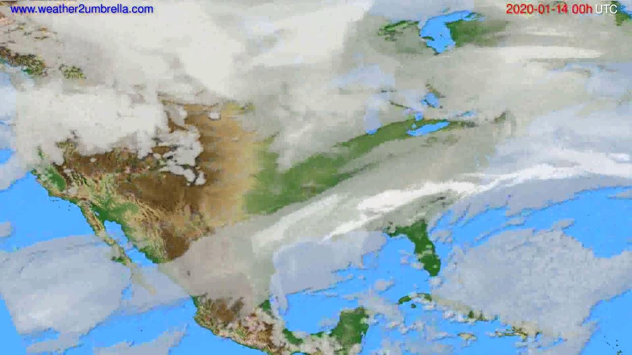 Cloud forecast USA & Canada // modelrun: 00h UTC 2020-01-13