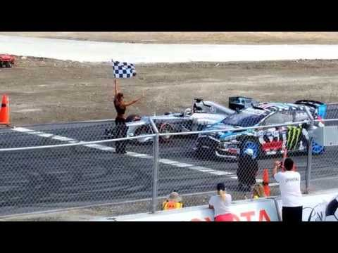 Lewis Hamilton and Ken Block on the same track