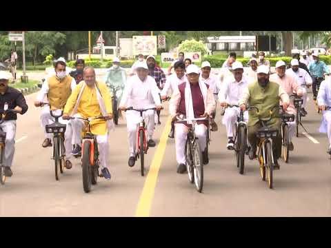 CM Haryana on Cycle on World Car Free Day
