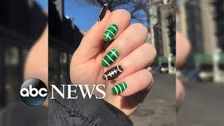 These DIY Super Bowl-themed nails are a touchdown