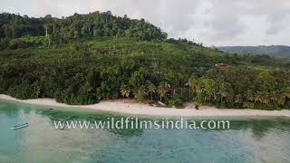 Rain forests and beaches of the Andaman islands of India: Aerial view