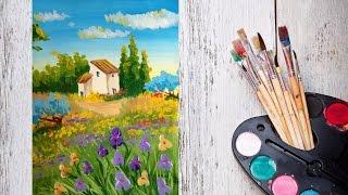 Смотреть онлайн Как нарисовать летний пейзаж гуашью поэтапно