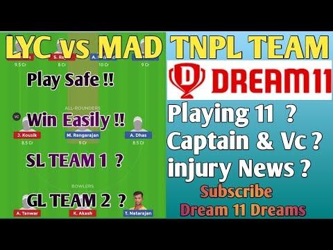 #LYC_vs_MAD_DREAM_11_TEAM!  MAD vs LYC Dream 11 Team