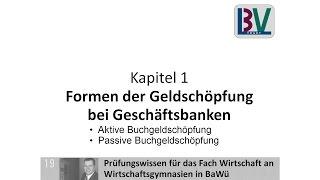 Wirtschaft Aktive Und Passive Buchgeldschöpfung Schule Abitur Bank