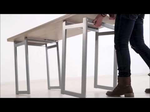 Mesa de centro transformable en mesa de escritorio o de comedor