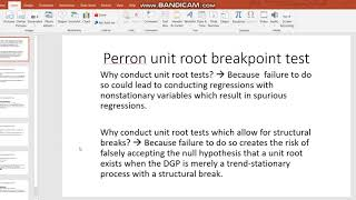Video 5 - Perron Unit Root Breakpoint Test (part 1) On Eviews