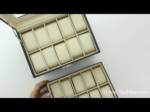UnboxingUhrenbox Uhrenkasten Uhrenkoffer für 20 Uhren schwarz PU Leder