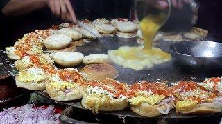 Super Fast Cooking Skills - BURGER MAKING - Bun Kabab Street Food of Karachi Pakistan