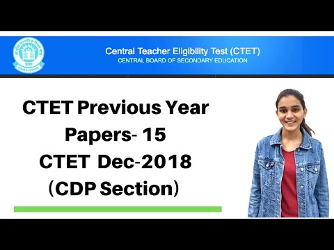 15 | CTET Previous Years Papers Series | Dec-2018 Solved - CDP