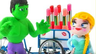 FROZEN ELSA NEW LIPSTICK ❤ Spiderman, Hulk & Frozen Elsa Play Doh Cartoons For Kids