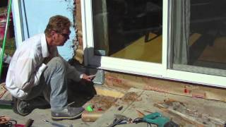 Correct wood damage and  lath around a new sliding glass door