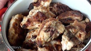 Шашлык из курицы в горчично-майонезном маринаде