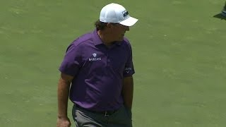 Phil Mickelson's clever chip sets up par on No. 13 at the Memorial