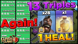 Insane! Another 13 Legend Triples with Hogs and only 1 Heal | Clash of Clans