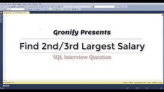 Find 2nd Highest salary in SQL | Find 3rd Highest Salary in SQL | Find Nth Highest Salary in SQL