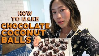 Healthy Chocolate Coconut Balls Recipe | Aimee Song
