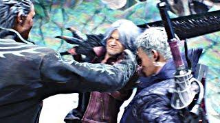 Devil May Cry 5 - Vergil & Dante Reunite & Slap Nero Cutscene (DMC5 2019) PS4 Pro