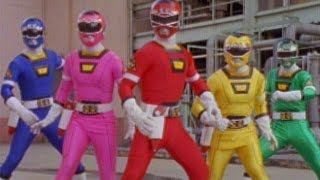 Power Rangers Turbo - First Morph and Fight (Power Rangers vs Piranhatrons)