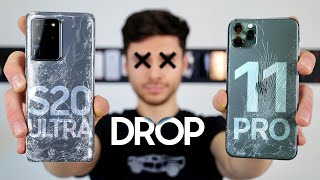 Samsung Galaxy S20 Ultra vs Apple iPhone 11 Pro Max DROP Test!