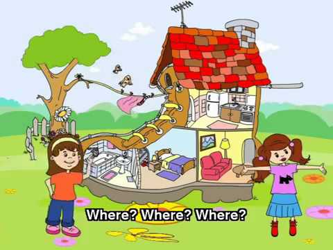 English songs for Children :In the kitchen, bedroom, bathroom, living room song
