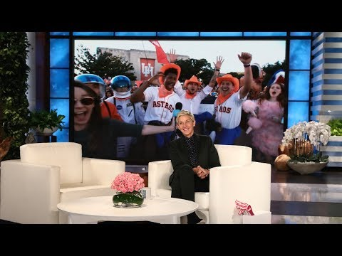 Ellen Rallies Astros Fans at University of Houston