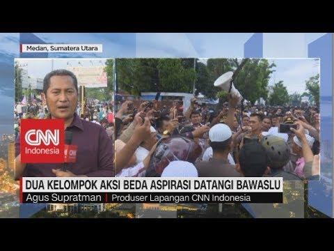 2 Kubu Lakukan Aksi di Depan Kantor Bawaslu Medan, Situasi Sempat Memanas
