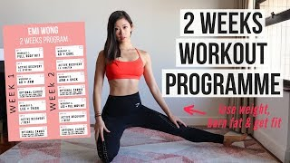 2 Weeks Workout Program To Lose Weight, Get Abs & Burn Fat (Arms, Belly, Back, Leg) ~ Emi