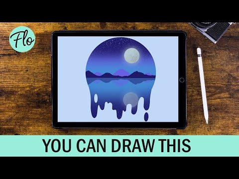 YOU Can Draw This NIGHT SCENE Landscape in PROCREATE | easy landscape drawing tutorial