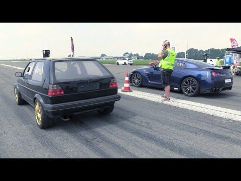 735HP VW Golf 2 R32 Turbo 4Motion vs Nissan GTR R35