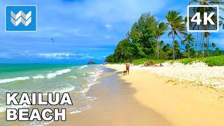 [4K] Kailua Beach in Oahu Hawaii USA - Walking Tour & Travel Guide 🎧 Relaxing Beach Sound