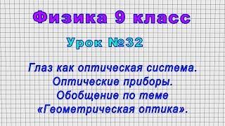 Физика 9 класс Урок 32 - Глаз как оптическая система. Обобщение по теме Геометрическая оптика