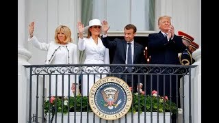 BREAKING Donald Melania Trump moments with France President Macron & Wife  April 24 2018 News