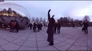 Video 5K 8k Chicago Cloud Gate The Bean in Millennium Park 8k and 360 Degrees