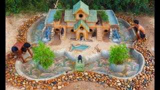 Rescue Fish From Dry Up Place & Build Fish Pond Around Puppys Villa