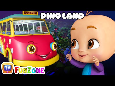 Wheels On the Bus - Dino Land - Dinosaur Rhymes for Babies | ChuChuTV 3D Nursery Rhymes & Kids Songs