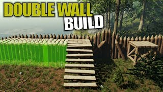 DOUBLE WALL BUILD | The Forest | Let's Play Gameplay | S14E28